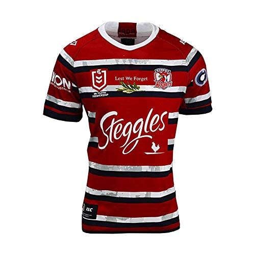 Rugby Jersey Fußballtrikot, 2020-2021 Sydney Rooster Rugby Trikot, Hochwertiges Fußballtrikot, Fan Breathable Comfortable Polo Shirt-red-XXL