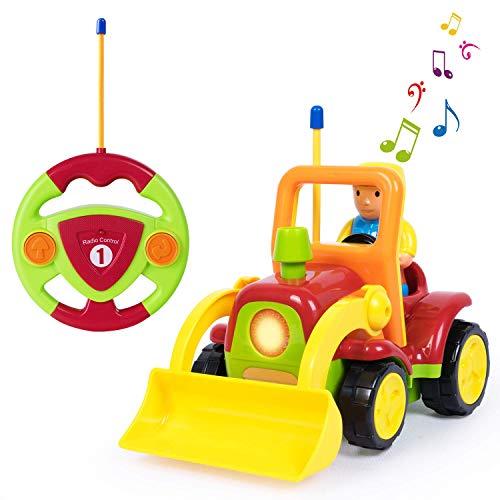 SLONG Juguete del Tractor del Carro de la Descarga de RC, Juguete teledirigido del Coche del Bulldozer con la Radio de la música, Regalo de cumpleaños Presente para los niños bebés