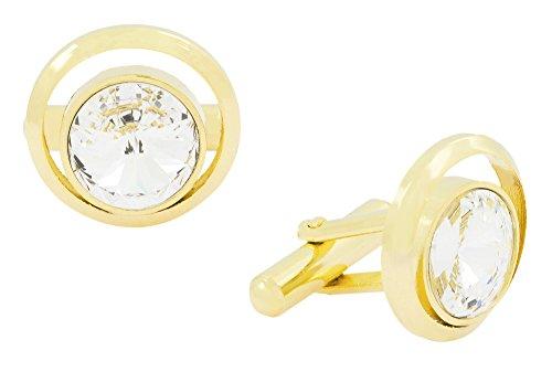 Die Jewelbox formales Hemd Rund Gold Rhodium Manschettenknöpfe versilbert Messing Jungen Paar Herren Geschenk-Box