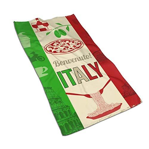 Teash Italien Pizza Mikrofaser Handtuch Schnelltrocknende Waschlappen Sporttuch 27,5 * 15,7In