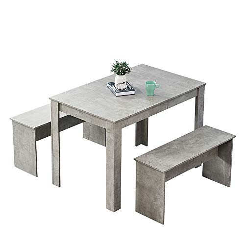 Huisen Furniture Wooden Dining Table and 2 Benches Grey for Kitchen 3 Piece Small Dinette Table and Chairs Set with 4 People Small Apartment