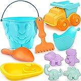Vanplay Juguetes de Playa Juegos Playa Niños, Regadera Niños, Molde de Arena, Juguetes de Baño para Bebé Niños, 10 Piezas