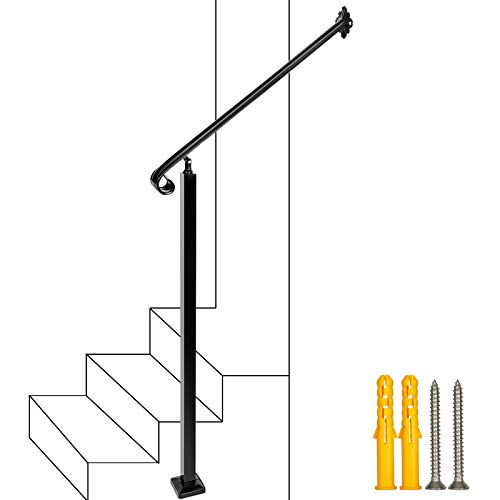 2-3 Step Handrail,Wall&Floor Mounted Wrought Iron Handrails, Stair Rail with Installation Kit Hand Rail for Outdoors Steps,Black