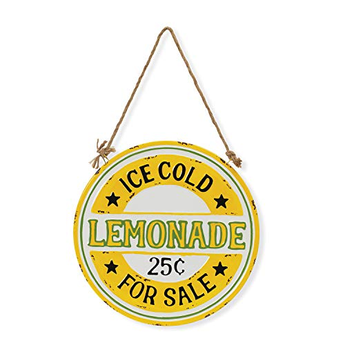 Gerson Ice Cold Lemonade for Sale Hanging 12 Inch Metal Sign with Jute Cord