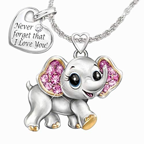 Necklaces for Women, Never Forget I Love You Rhinestone Elephant Heart Pendant Chain Necklace