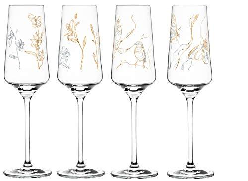 Dekomiro Ritzenhoff Prosecco Spring 2020 - Juego de copas de vino (4 unidades, con paño limpiador)