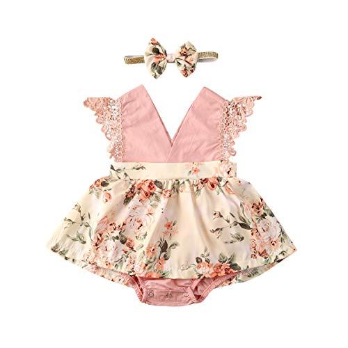 Psafagsa Bambina Vestito Neonata Estivo Abiti con Fascia Rosa 3-6 Mesi
