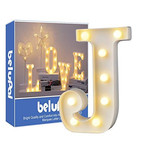 Letras Led Letras Luminosas Decorativas Letras Alphabet Light Luces De Espejo Del Alfabeto A-Z con Luces de LED para Decoración de DIY Wedding Party Dormitorio Decoración de Navidad- Letra J