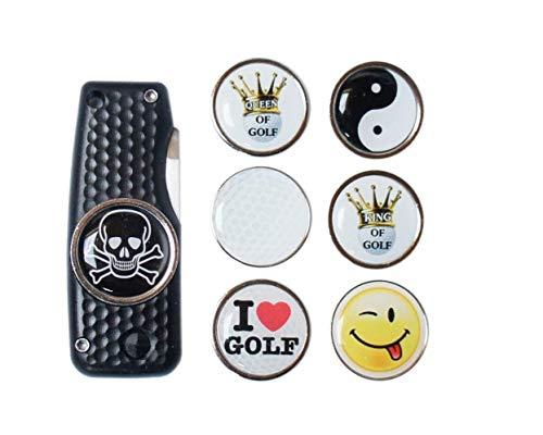 RoLoGOLF Pitchgabel aufklappbar, schwarz, mit Golfball Marker Totenkopf Golf Geburtstagsgeschenk Idee