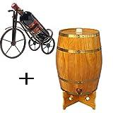 Tonneau à vin en bois de chêne d'époque - Tonneau de Vin, Fabriqué à la main avec du chêne blanc, Conservation du whisky, du vin, du vinaigre et de la bière (Color : C, Size : 5L)