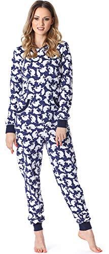 Merry Style Pijama Entero Una Pieza Ropa de Cama Mujer MS10-175 (Azul Oscuro Puntitos, M)