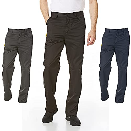 Iron Mountain Workwear IMPNT100 Mens Heavy Duty Easy Care Multi Pocket Knee Pad Pocket Work Safety Classic Cargo Pants Trousers,Black-40W/29L