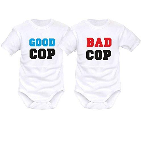 SIMEDIO 2 x Body bébé Jumeaux personnalisé : Good cop/Bad cop - Blanc - 9 Mois