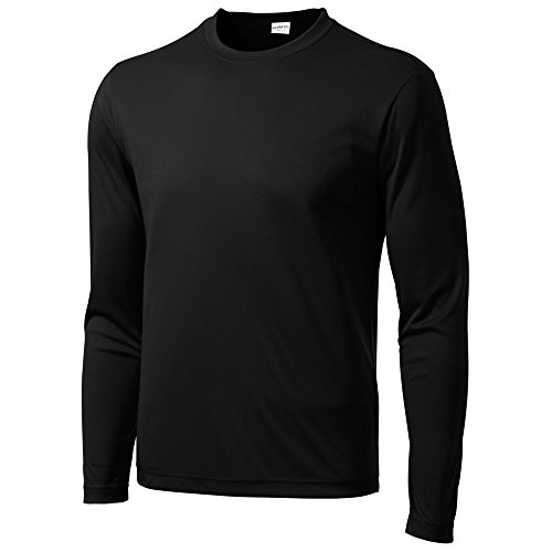 Clothe Co. Mens Long Sleeve Moisture Wicking Athletic Sport Training T-Shirt, L, Black