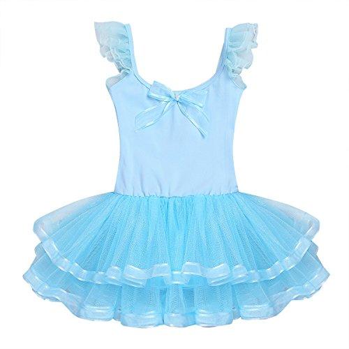 Freebily Vestito Ballerina Bambina Carnevale Cotone Lago dei Cigni Vestito Tutu Danza Classica Bimba Senza Maniche da Balletto Body Ginnastica Ritmica Abito Pattinaggio Cielo Blu 3-4 Anni