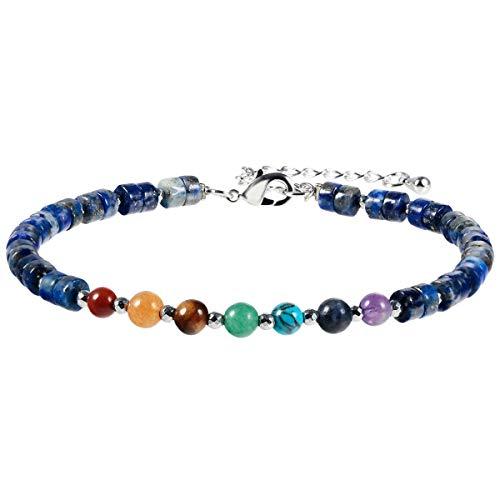 KYEYGWO - Pulsera de piedra de 7 chakras para mujeres y hombres, pulsera de yoga ajustable de perlas de cristal para meditación, 22 cm, Imagen Jasper Piedra de los 7 chakras Hematitis aleación, Jaspe,