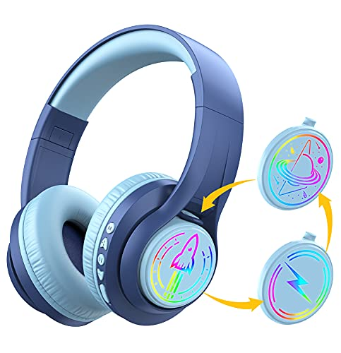 iClever TransNova Replaceable Plate Bluetooth Headphones, Colorful RGB Light Up 74/85/94dB Volume Limited Over Ear Headphones with Microphone, 45H Playtime, Hi-Fi Stereo Sound for Kids Teens, Blue