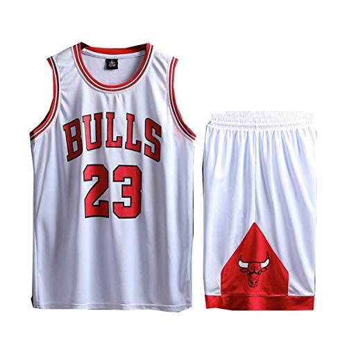 Foairs Tuta estiva da basket, da uomo, modello Michael Jordan # 23, pantaloncini da basket retrò dei Chicago Bulls + pantaloncini estivi, taglia: L-5XL