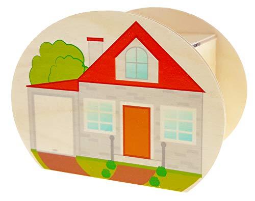 Hess Holzspielzeug 15213 - Spardose aus Holz mit Schlüssel, Haus, Geschenk zum Einzug, Hausbau oder Richtfest, ca. 11,5 x 8,5 x 6,5 cm