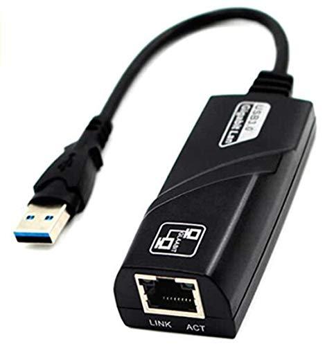 DIB USB Netzwerkadapter USB 3.0 auf RJ45 10/100/1000 Gigabit Ethernet LAN Netzwerkadapter für Windows 10/8.1/8/7/Vista, Mac OS, Linux, Chrome OS & mehr - Schwarz