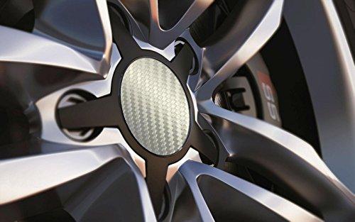Standard universel 77 mm Centre de roue en alliage Cap badges, Argent Carbone