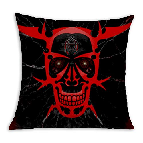 Red Skull Cool Comfortable Pillowcase Home Decoration Garden Cushion Cover Square Inside and Outside