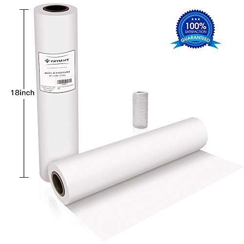 White Kraft Butcher Paper Roll -18' x 2100' (176 ft) Food Grade White Wrapping Paper for Meats of All Varieties - Unbleached Unwaxed and Uncoated