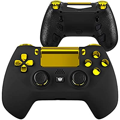 HexGaming Esports Pro Hyper Controller 4 Mappable Rear Buttons & Triggers Stop & Interchangeable Thumbsticks for PS4 Console PC Wireless FPS Custom Gaming Gamepad
