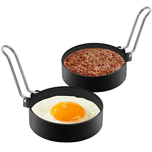 Anillos de Huevo Antiadherentes,2 Pcs Acero Inoxidable Redondo Moldes para Huevos Fritos Panqueques para Freír Huevos, Plancha de Cocción, Muffins de Huevo, Juego de Moldeador de Huevos.