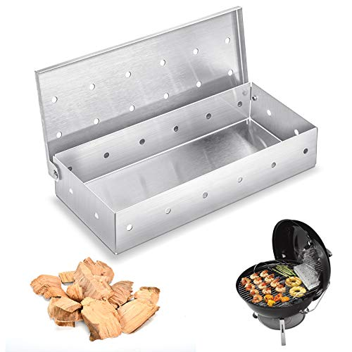 EKKONG Räucherbox, Smoker Box aus Edelstahl für BBQ, Aroma beim Grillen Smokerbox für Kugel, Kohle und Gasgrill Robustes Grillzubehör Räucherkasten - 22 * 9.5 * 4 cm