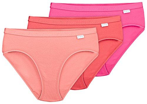 Linda Loom Damen Slips Taiga Baumwolle Elasthan 3er-Set pink Koralle lachs Gr. L 44-46