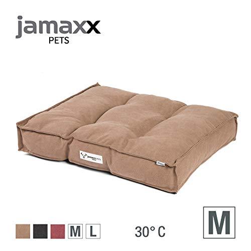 JAMAXX Hundekissen,Dicke weiche Komfort-Füllung, Bezug waschbar, Hunde-Matratze Bodenkissen Bezug Farben im modernen Vintage-Canvas Design, PDB1086 (M) 65x55 braun