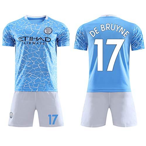 GHMEI Saison 2021 (Heim) Fußball Trikot # 17 De Bruyne, 10 Kun Agüero Trikot T-Shirt, Fußball Shorts, für Kinder Männer Erwachsene-#17-XL