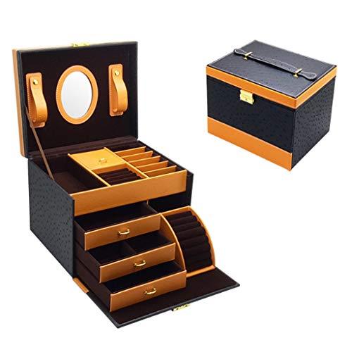 Sweet Caja Joyero con Espejo Y Cajones, Joyero De Cuero, para Pendientes, Pulseras, Anillos, Almacenamiento Y Expositor, Organizador Joyero con Cerradura,Negro