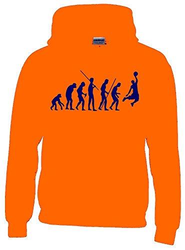Coole-Fun-T-Shirts Basketball Evolution Kinder Sweatshirt mit Kapuze Hoodie orange-Navy, Gr.140cm