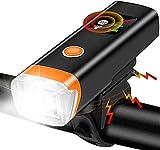 ZHENG Luz Bicicleta Faro de la Bicicleta, Sensor de Brillo Inteligente, con indicador de Potencia, Modos de iluminación Ajustables, Recargable USB, for Todas Las Bicicletas de la Carretera de montaña