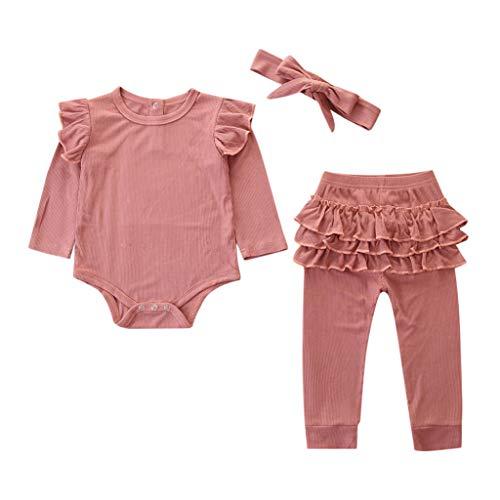 LEXUPE Neugeborene Kinder Baby Mädchen Outfits Kleidung Strampler Bodysuit + Streifen Lange Hosen Set(Rosa-C,70)