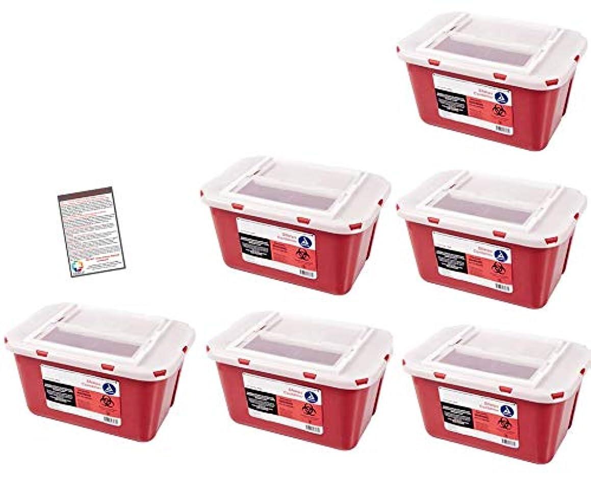 Bulk Sharps Container 1 Gallon - Plus Vakly Biohazard Disposal Guide (6 Pack)