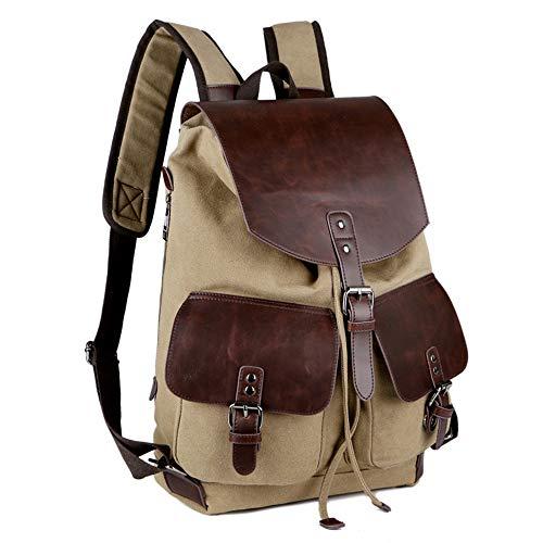 QXbecky lienzo retro con bolso de hombro de cuero de caballo loco para hombre, resistente al desgaste y transpirable, para viajes al aire libre, mochila informal de gran capacidad, 43x31x14cm