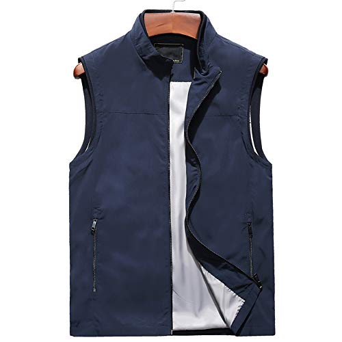 Heren Effen Kleur Casual Warm Vest, Herfst En Winter Plus Fluwelen Dikke Stand Kraag Gilet Middeleeuws Oud Vader Vest Jacket,M-5XL