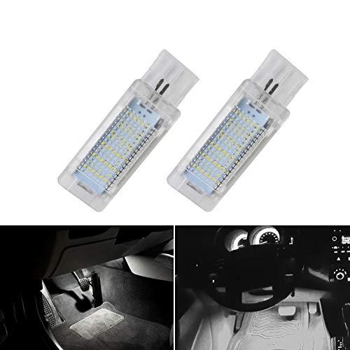 JoaSinc Coche LED Luces para los pies Luz debajo de la puerta Bulbo del maletero del equipaje Lámpara de guantera Iluminación Interior 6000K Blanco para V-W, Ca-ddy, Go-lf, Pas-sat, Po-lo etc, 2 PCS