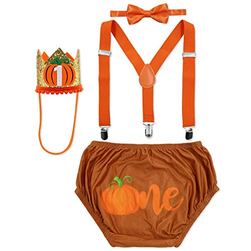 Pumpkin Baby Boy Diaper Cover Adjustable Suspender Bowtie Crown Hat Set of 4 First Birthday Cake Smash Outfit Pumpkin Party Supplies Costume Photo Props for Fall Halloween Thanksgiving