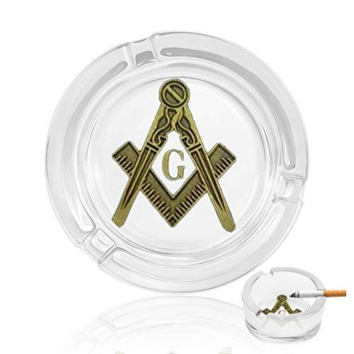 NCK Masonic Symbol Glass Ashtrayashtray,Cigar ashtrays,Round Design,Glass Ashtrays with 3 Grooves Home Office Tabletop Desk Decoration
