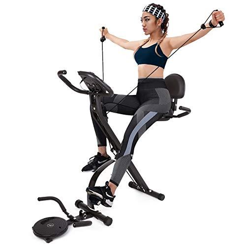 INTEY Cyclette da Casa Pieghevole - Bici da Fitness con Elastici Fitness Pull Up Bande e Balance Board, 16 Livelli di Resistenza, F-Bike con Sensori delle Pulsazioni e Display LCD, Allenatore Cardio