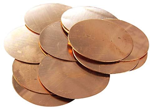 Copperlab 2-5/8 Inch Round Circle Disc Copper - Metal Stamping Blank Engraving Tag - 16 Oz Copper - 12 Blanks