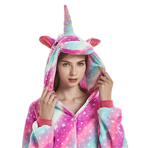 ABYED Jumpsuit Tier Karton Fasching Halloween Kostüm Sleepsuit Cosplay Fleece-Overall Pyjama Schlafanzug Erwachsene Unisex Lounge, Erwachsene Größe M - für Höhe 156-163CM, Sternenhimmel Einhorn