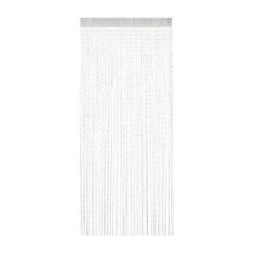 Relaxdays Cortina de Hilos con Purpurina, 90 x 245 cm, acortable, para Puertas y Ventanas, Lavable, Color Blanco