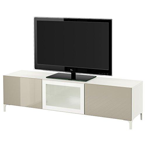Ikea BESTA - TV-bank met laden en deur wit/selsviken hoogglanzend/beige melkglas