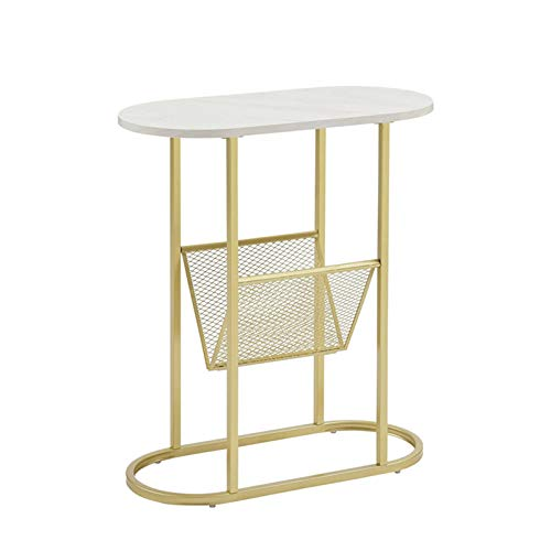 Storage Table,Marble Side Table Decorative Table/Metal Flower Stand Golden Metal Bracket & White Marble Table Top Side Table Coffee Table In The Living Room(Size:58 * 28 * 63CM)
