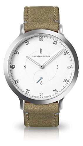 Lilienthal Berlin Uhr - Made in Germany - Designed in Berlin - Modell L1 mit Edelstahlgehäuse, Unisex, Gehäuse: Silber / Zifferblatt: Weiß / Armband: Khaki, Size: 42.5 mm